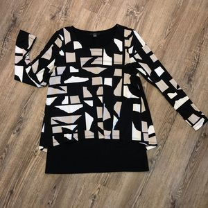 Alfani Bold Patterned Long Sleeve Blouse